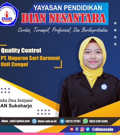 Success Story – Finka Dea Setiyani  ( Quality Control – PT Ungaran Sari Garment Unit Congol )
